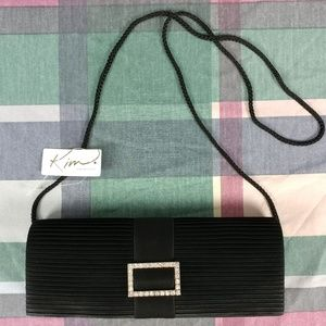 Kim Rogers Women's Small Black Formal Purse Ribbed